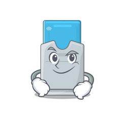 Cool key card mascot character with smirking face vector