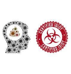Coronavirus collage shit idea head icon with vector