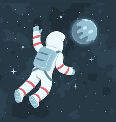 Cosmonaut floating in weightlessness against vector