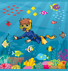 Diver boy undersea vector