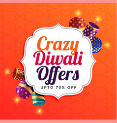 Diwali sale background with crackers vector