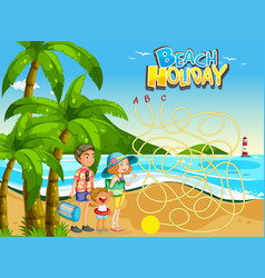 family beach game template vector image