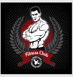 Fitness club logo with exercising athletic man on vector