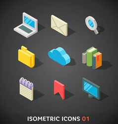 Flat Isometric Icons Set 1 vector image