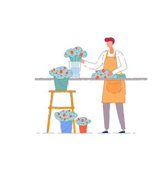 Flower shop owner isolated florist seller vector