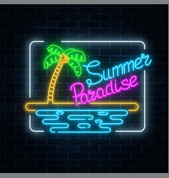 glowing neon summer paradise sign with palm beach vector image