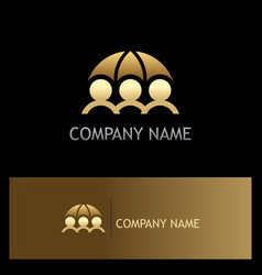 gold save people protection insurance logo vector image