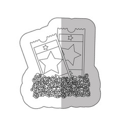 grayscale contour sticker of popcorn and movie vector image
