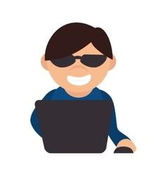 hacker thief cyber spy vector image