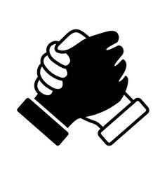 Hand clasp handshake or shake icon vector