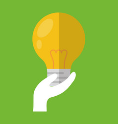 hand holding bulb light vector image