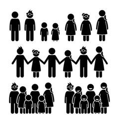 Happy children together stick figures icons vector