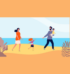 happy family walking on beach travel time mother vector image
