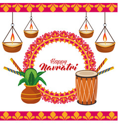 Happy navratri celebration with drum and candles vector