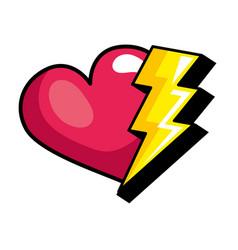 Heart love and thunderbolt pop art style icon vector