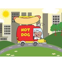 Hot dog truck cartoon vector