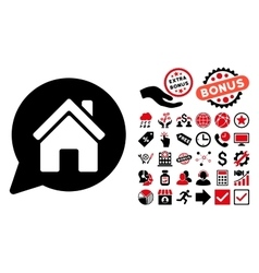House Mention Flat Icon with Bonus vector