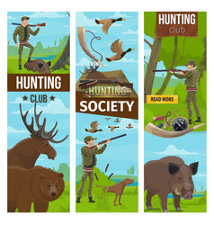 Hunting club banners of hunter and animals vector