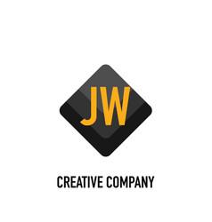 Initial letter jw black creative design logo in vector
