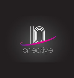 Io i o letter logo with lines design and purple vector