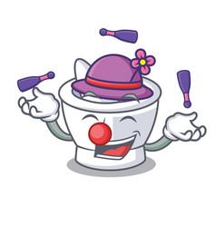 Juggling mortar mascot cartoon style vector