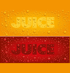 juice text on red and yellow background with fresh vector image