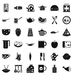kitchen icons set simple style vector image