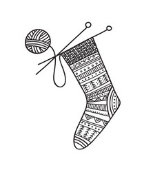 Knitted sock and ball yarn vector