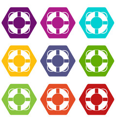 Lifeline icon set color hexahedron vector