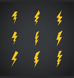 Lightning icons set symbols set on dark vector