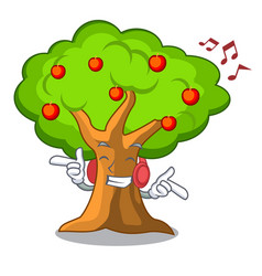 Listening music apples on tree branch the vector