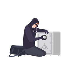 male burglar wearing mask and hoodie using vector image