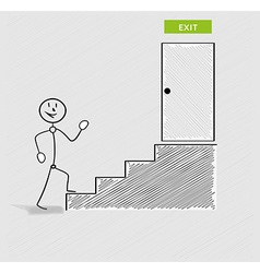 Man and stairs to exit vector