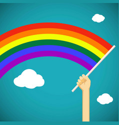 Man keep in his hand a gay rainbow flag lgbt vector