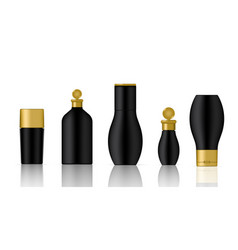 mock up realistic black and gold cosmetic bottles vector image