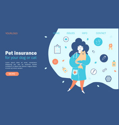 pet insurance concept vets with pets protection vector image