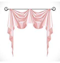 Pink curtains on the black ledge forged isolated vector image