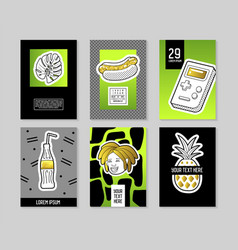 pop art style fashionable posters set trendy vector image