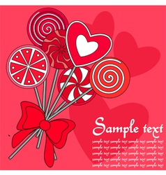 Red lollipops background vector image