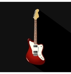 Red vintage electric guitar on a black background vector