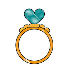 ring heart flat scribble vector image