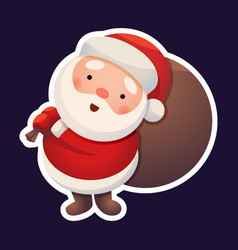 santa claus on dark background sticker jolly santa vector image