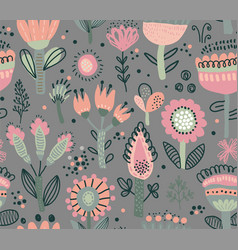 seamless pattern with fancy flowers vector image
