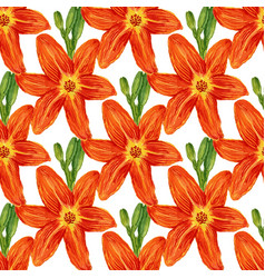 Seamless pattern with watercolor flowers lilies vector
