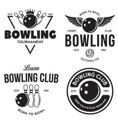 set vintage monochrome style bowling vector image