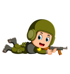 soldier with a gun in action vector image