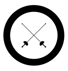Swords for fencing icon black color simple image vector