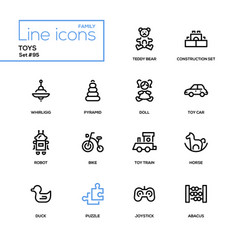 toys - modern line design icons set vector image