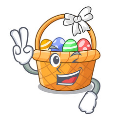 two finger easter basket isolated in the character vector image