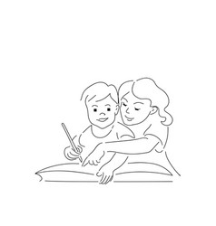 two kids writting homework in worksheet homework vector image